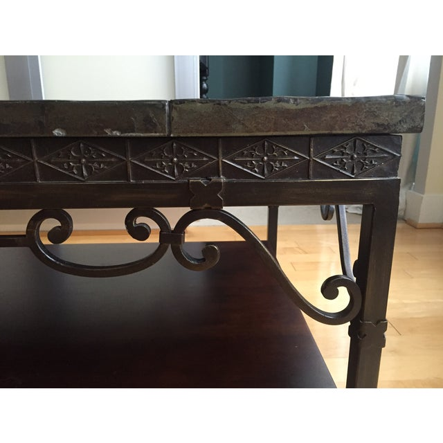 Image of Brown Stone Tile-Top Coffee Table