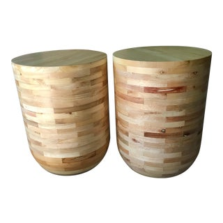 Pine Barrel Accent Tables - A Pair