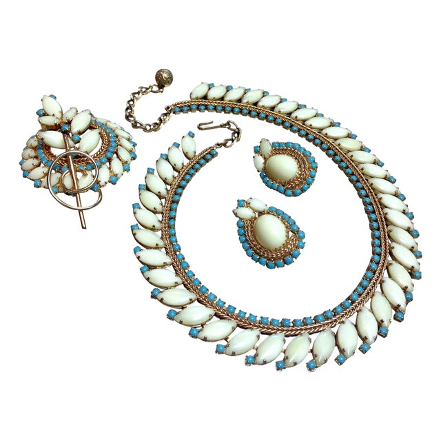 Image of Vintage Hobe Parure - Necklace, Pin & Earrings