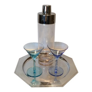 Vintage Martini Shaker with 2 Glasses & Silver Plated Tray Set