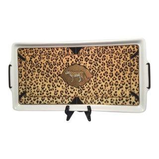 Lynn Chase Rectangular Amazonian Jaguar Serving Plate with 24 Karat Gold Trim
