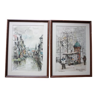 Vintage Jan Korthol Watercolor Prints- Set of 2