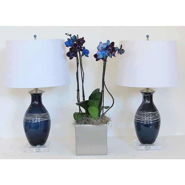 image of artisan blue and white blown glass lamps pair artisan blown glass lamps