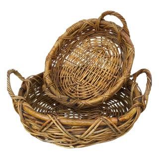 Rattan Bamboo Baskets - Pair