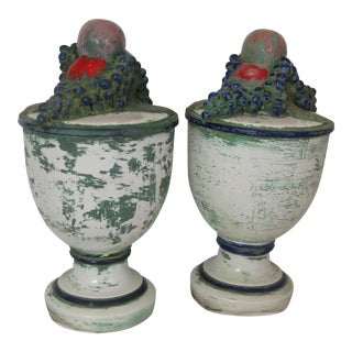 Italian Ceramic Urns With Fruit - A Pair