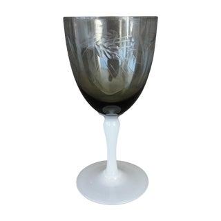 H.C. Fry Glass Smoked & Wheel Cut Wine Glass