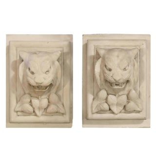 Pair of Carved Marble Plinths