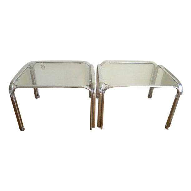 Image of On Hold Italian Chrome & Glass Side Tables -A Pair