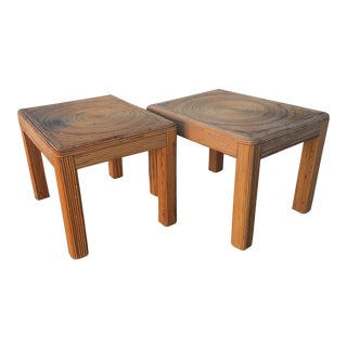 1970's Pencil Stacked Reed Rattan End Tables - Pair
