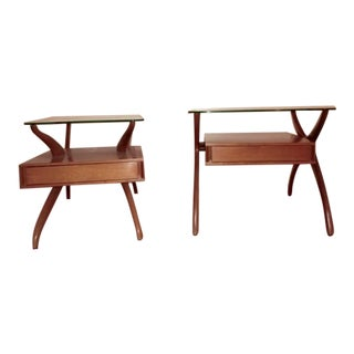 Danish Modern Mixed End Tables - A Pair