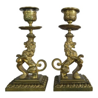 19th C French Bronze Lion Candlesticks - a Pair
