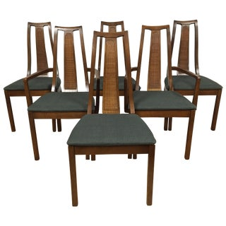 Mid-Century Cane Back Dining Chairs - Set of 6