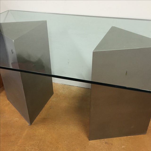 Geometric Silver & Glass Top Modern Dining Table - Image 4 of 8