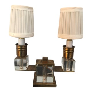 Exquisite Dore Bronze and Crystal Boudoir Lamp by Jacques Adnet