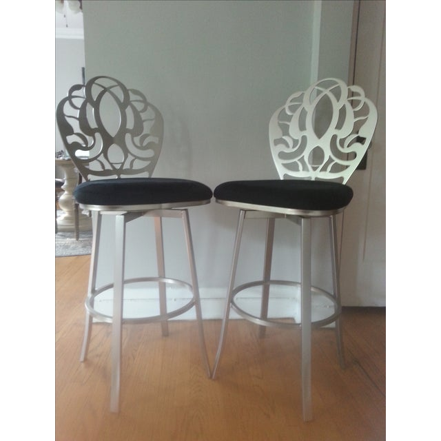 Carved Brushed Nickel Barstools - A Pair - Image 2 of 9