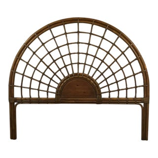 Vintage Rattan Shell Form Full Sized Headboard