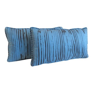 Custom Blue Brushtroke Pattern Pillows- a Pair