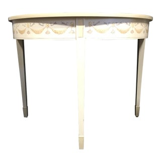 Hand Painted Demi Lune Table - Pair
