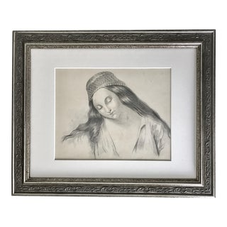 Antique French Master Drawing of Woman