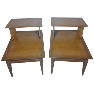 Mid-Century Umbrian 2-Tier Side Tables - A Pair