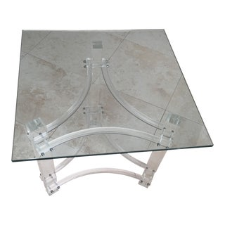 Mid-Century Lucite Glasstop End Table
