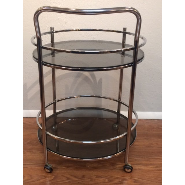 Vintage Milo Baughman Style Round Bar Cart - Image 4 of 5
