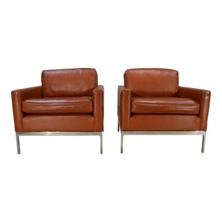 Nicos Zographos Soft Leather Club Lounge Chairs - a Pair
