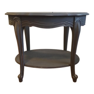 Painted Glass Top Side Table