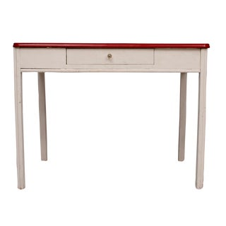 Enamel Top Table Desk With Wood Base