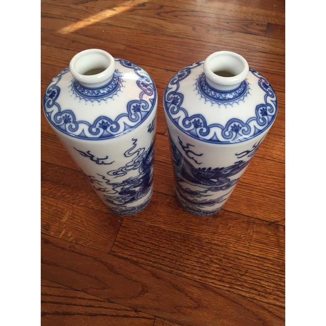 Blue and White Dragon Vases - Pair - Image 5 of 10