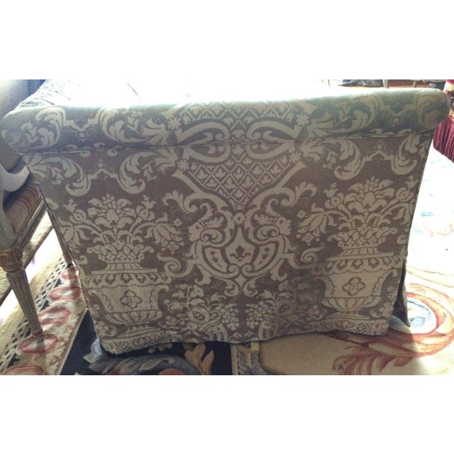 Fortuny Covered Camel-Back Sofa with Rolled Arms - Image 6 of 10