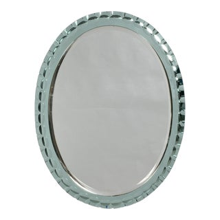 Italian Oval Wall Mirror Attributed to Max Ingrand for Fontana Arte