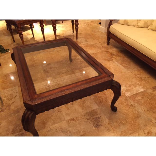 Tropical Wicker Glass Coffee Table Chairish
