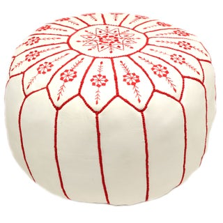 Embroidered Leather Pouf - Red on White Starburst (Stuffed)