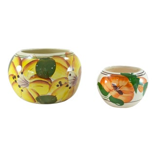 Yellow Hand-Painted Mexican Pots - A Pair