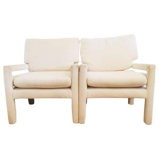 Milo Baughman Style Open Arm Parsons Chairs - Pair
