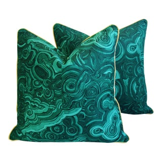 "24"" Tony Duquette-Style Jim Thompson Malachite Feather/Down Pillows - a Pair"
