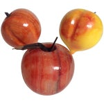 Image of Carved Hard Stone Peaches & Apple - Set of 3