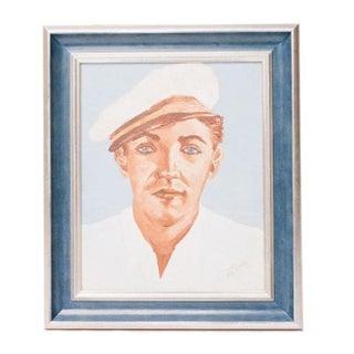 Vintage Portrait of a Sailor in Blue Frame
