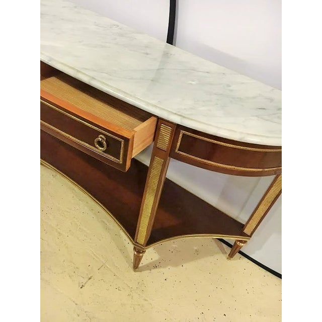 marble top demi lune console tables pair chairish. Black Bedroom Furniture Sets. Home Design Ideas