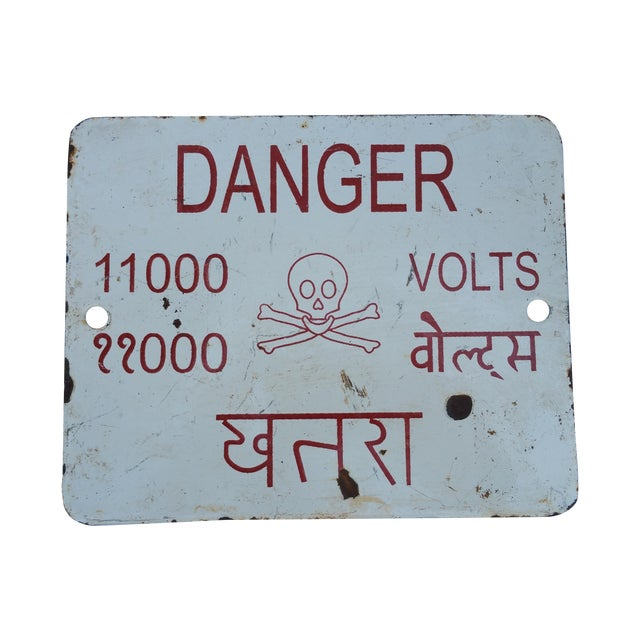 Enamel Beware Electricity Sign - Image 1 of 3