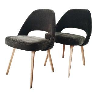 Saarinen Mid-Century Olive Green Velvet Chairs - A Pair