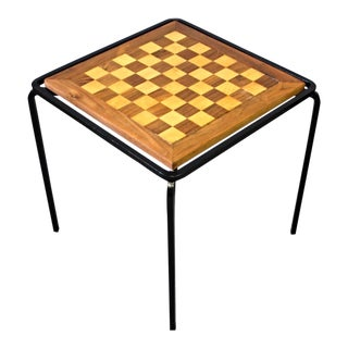 Handmade Chess Checkers Parquetry Inlaid Game End Side Lamp Table Coffee Vintage