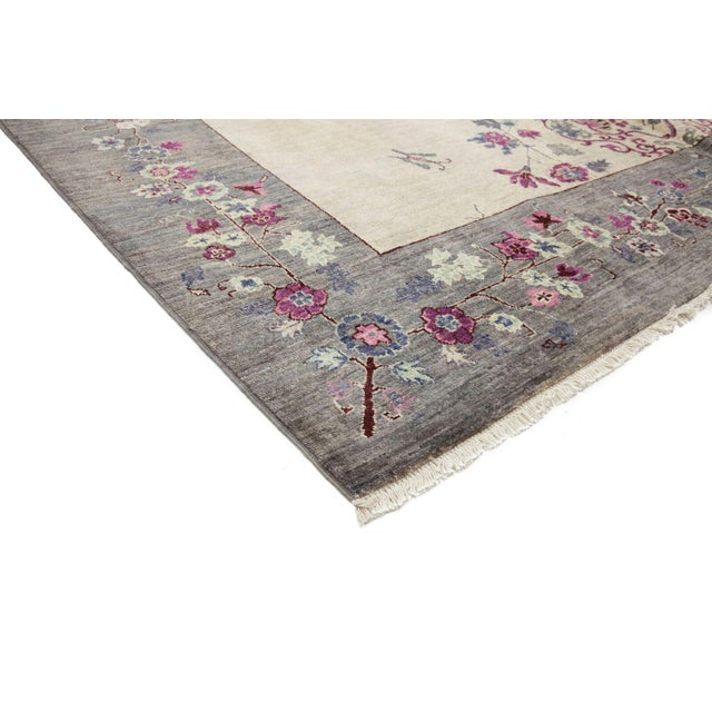 "Suzani, Hand Knotted Ivory Wool Area Rug - 8' 1"" X 10' 0"" - Image 2 of 3"