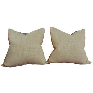 Neutral & Coral Cord Pillows - A Pair