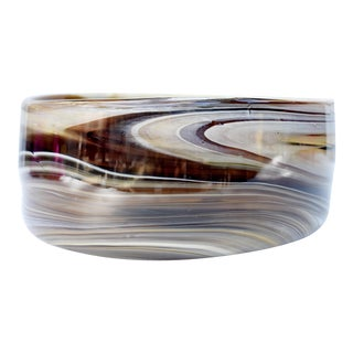 Brown & Khaki Art Glass Bowl