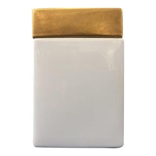 Vintage Gold & White Ceramic Jar