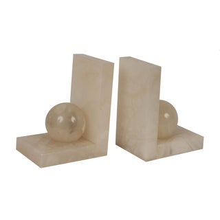 Vintage Alabaster Bookends - A Pair
