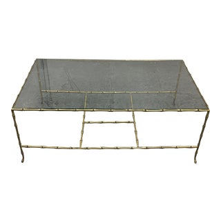 Bamboo Motif Brushed Brass and Glass Coffee Table
