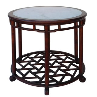 Chinese Style Round Marble Top Pedestal Table